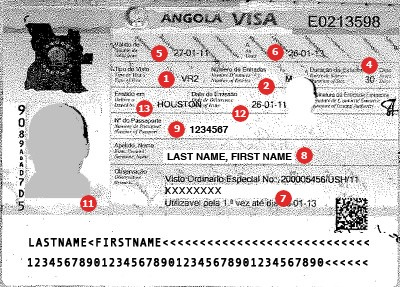 View samples of actual travel visas visacentral get a visa for travel to angola altavistaventures Gallery